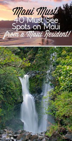 MAUI – 40 Must See Spots from a Maui Resident Travel tips and tricks! Maui Musts - 40 Must See Spots on Maui. Whether you're planning a trip to Maui or dreaming of one, you have to check out these beautiful places to visit. Oahu, Maui Hawaii, Hawaii 2017, Maui Beach, Hawaii Life, Kapalua Hawaii, Kaanapali Maui, Lahaina Maui, Trip To Maui