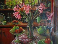 Naked Ladies and Fruits, 2006 Australian Painters, Australian Artists, My Flower, Flower Vases, Flower Artwork, Fruit Painting, Art Market, Contemporary Artists, Blue Yellow