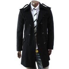 Amazon.com: Doublju Mens Double PEA Wool Half Trench Coat(868 ...