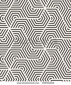 Vector seamless pattern. Modern stylish texture. Repeating geometric tiles with hexagonal elements. Minimalist monochrome print. Contemporary graphic design. - stock vector