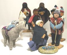 Large Handspun 10 Piece Nativity from Bolivia. Handspun thread, natural dyes. From an employment project in a village on Lake Titicaca. To order, see http://www.crossroadstrade.com/large-handspun-10-piece-nativ-115-nat01.html.