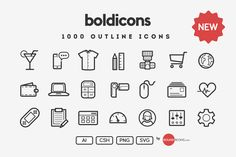 Check out Boldicons - 1000 outline icons by roundicons.com on Creative Market