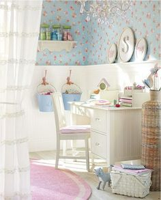 LOVE!! i so want those kind of walls in my bedroom! half white wainscoting and half pretty floral wall paper.