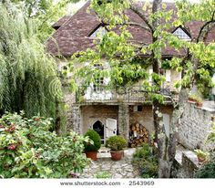 Image Detail for – Quaint Courtyard French Garden Stock Photo 2543969 : Shutters… - Modern Outdoor Rooms, Outdoor Gardens, Courtyard Gardens, Courtyard Ideas, French Country Style, French Country Decorating, French Courtyard, Raised Bed Garden Design, Moss Garden
