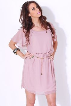 1015store.com-taupe retro chiffon belted flutter sleeve dress-$15.00