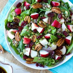 Apple Harvest Salad - spinach, apple, pumpkin seeds, cranberries, walnuts