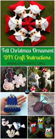Collection of DIY Felt Christmas Ornament Craft Projects Instructions: Felt Christmas Craft ideas, kids felt projects, Christmas felt ornament decorating DIY tutorials via @diyhowto