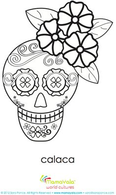 super cute day of the dead girl calaca coloring sheet includes a link with educational