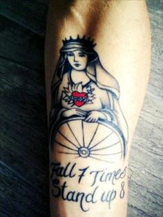 A Tattoo sent to us by Manuel Grimaldi  -it's gorgeous -with the QR skewer thru the heart and a tenant I live by: Fall 7 times, get up 8. Ride on.