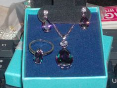 LOOK!!!! A STUNNING STERLING SILVER MYSTIC RAINBOW TOPAZ AND AAAAA CZ 3 PIECE SET