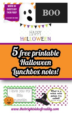 5 Free Printable Halloween Lunch Box Notes from @mybrightreality