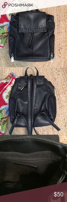 "Vintage Leather Backpack Vintage Liz Claiborne leather backpack. 1 inside zip pocket and 3 outside zip pockets. 9"" across and 10"" high.  Perfect condition. Liz Claiborne Bags Backpacks"