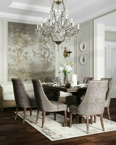 Interior Design Affordable Dining Room Design Ideas For A Romantic Atmosphere Lawn Mowers With t Elegant Dining Room, Luxury Dining Room, Elegant Home Decor, Dining Room Design, Dining Room Chairs, Dining Room Furniture, Formal Dining Rooms, Classic Dining Room, Dining Sets