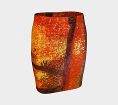 """Fitted+Skirt+""""Orange+and+Black+Fitted+Skirt""""+by+Paperwerks+--+Kim+Printz"""