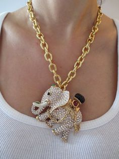 Vintage Ciner Jeweled Mogul Massive Elephant Pendant Necklace | eBay