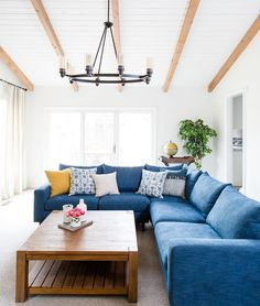 Sloan corner sectional sofa from Interior Define, room styled by Centered By Design Blue Sectional, Corner Sectional, Living Room Sectional, Living Room Furniture, Home Furniture, Living Room Decor, Sectional Sofas, Casa Petra, Living Room Throws