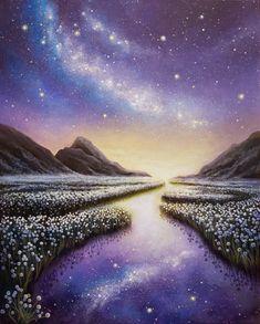 Galaxy Painting, Galaxy Art, Acrylic Painting Canvas, Canvas Art, Canvas Size, Landscape Artwork, Fantasy Landscape, Beautiful Nature Wallpaper, Beautiful Landscapes