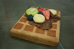 It's a waffle bed! A WAFFLE BED! Just too much awesomeness is happening here.