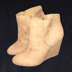 Wedge booties Adorable faux suede booties. First picture is flash on, 2nd picture is flash off. Brand new with tags. Price is firm. Forever 21 Shoes Ankle Boots & Booties