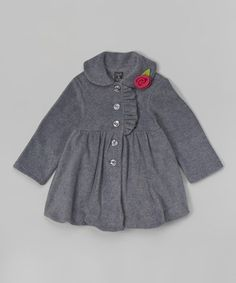 Another great find on #zulily! Charcoal Rose Bubble Coat - Infant, Toddler & Girls #zulilyfinds