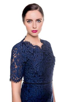 Stella Lace Scalloped Edge Dress with fringing detail.We have used a Luxury two tone lace slightly stretch lace on this style with navy silk smooth lining Scalloped Lace, Stretch Lace, Special Occasion Dresses, Summer Collection, Lace Dress, Silk, Blouse, Sweaters, Summer 2016