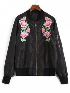 Floral Embroidered Bomber Jacket - BLACK L