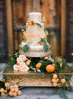 orange and gold wedding cake
