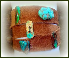 Acid Turquoise Gold and Leather Wrap Bracelet by MetalChocolate