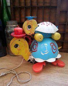 """Buddies""  Vintage Fisher Price Pull Toys  #brokenartstudio #vintagetoys #antiquetoys #pulltoy #turtles #fisherprice #childhoodtoys"