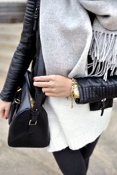 Knits and leather. Via Imagination for breakfast