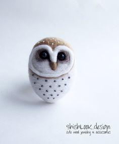 Felted Barn Owl Hand Felted Brooch Wool Animal by ShishLOOKdesign,