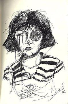 ink, figure, portrait, woman, sketch