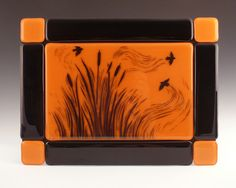 Glass Art, Fused Glass Wall TIle, Cattails and Blackbirds. $135.00, via Etsy.