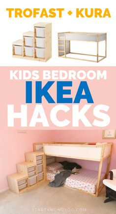 IKEA Hacks Kids Bedroom ⭐⭐⭐⭐⭐ IKEA Hacks for kids bedroom & trofast and kura IKEA hack for kids. The post IKEA Hacks Kids Bedroom appeared first on Pink Unicorn. Ikea Hack Kids Bedroom, Bedroom Hacks, Ikea Bedroom, Bedroom Kids, Ikea Nursery, Kura Cama Ikea, Trofast Ikea, Kids Room Design, Ikea Hacks