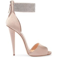 Giuseppe Zanotti Crystal-embellished suede sandals (27,965 INR) ❤ liked on Polyvore featuring shoes, sandals, heels, giuseppe zanotti, blush, zipper shoes, ankle strap shoes, giuseppe zanotti sandals, ankle strap sandals and high heeled footwear