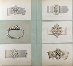 Designs for bracelets and cuffs by Charles Templier (grandfather of Raymond Templier). Date unknown but definitely the second half of the 19th century.