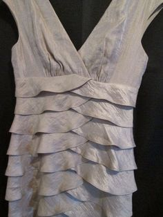 London Times Dress Size 4 Layered Beige Shiny Club Occasion Lined Clearance   #LondonTimes #Sheath #Festive