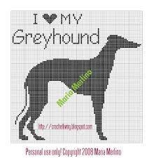 Greyhound dog free cross stitch pattern 87 x 72 stitches 4 ...