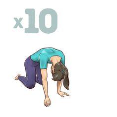 One-Minute Stretching Exercises toHelp Reduce Back Pain Stretching Exercises For Back, Stretching Program, Yoga Moves, Yoga Exercises, Night Workout, Workout List, Workouts, Yoga Fitness, Health Fitness