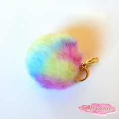 Cute Faux Fur Bag Pendant Pom Pom Keychain for by PetalleCreations