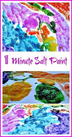 Easy salt paint for a shiny art work. #artactivities #saltpainting