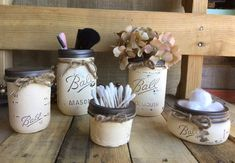 Cosmetic Organization Mason Jar Set Flower by VintageDaisyHome