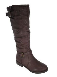Montage 02n Brown Slouchy Riding Knee High Boot.  $34.99            These riding boots are comfortable and looks great on everyone. Featured round toe front, stitching details, slouchy shaft designs, dual buckles decor on shaft, and low heel. Finished with cushioned insole and smooth faux fur lining for all day comfort. Pull on constructio...