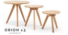 Trio of Orion Side Tables in oak