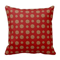 Red chocolate chip cookies pattern throw pillow