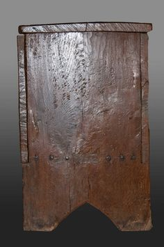 This medieval oak chest might be described as an 'armourer's chest', as it was made to store a suit of plate armour – probably parade amour. It dates to the mid fifteenth century, and measures 77 1/2″ long x 31 1/4″ high x 19 1/2″ deep. The interior (with divider to accommodate a helm) features …