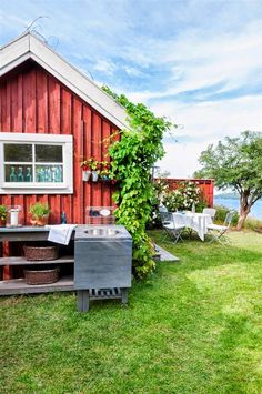 Summer Cottage, with outdoor kitchen - Lovely Swedish Cottage, Red Cottage, Cozy Cottage, Outdoor Seating, Outdoor Spaces, Farm Lifestyle, Red Houses, Wooden Cabins, Cabins And Cottages
