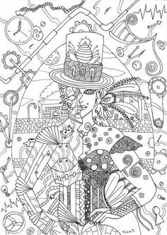 Steampunk coloring page for adults