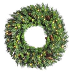 Adorn your home in holiday style with a Vickerman Cheyenne Pine Pre-Lit Wreath with Warm White LED Lights.Hang this beautiful wreath on a wall in any room where you want to bring a cozy Christmas feeling for your family and guests to enjoy. Pre Lit Wreath, Christmas Wreaths With Lights, Artificial Christmas Wreaths, Christmas Decorations, Holiday Wreaths, Christmas Feeling, Fabric Wreath, Christmas Store, Cozy Christmas