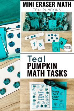 Teal Pumpkin mini-erasers from Target are perfect for math manipulatives. Add these hands-on math tasks to your small groups, centers, and sensory bins.